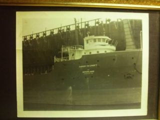 Vintage Real Photo - Steam Screw Harry W.  Croft.  Ore Docks Escanaba Mi1940 ' S photo