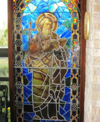 Antique Stained Glass Church Window Ca.  1900s photo