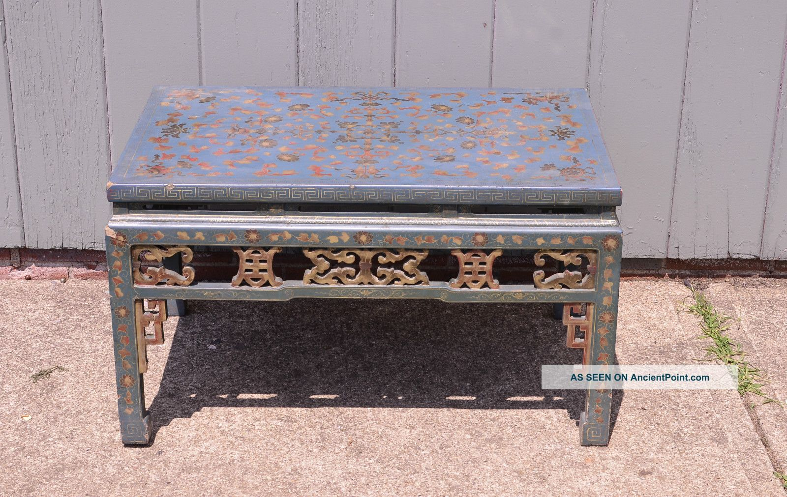 Antique Blue Asian Inspired Coffee Table Vintage Furniture Chinese Eames Post-1950 photo