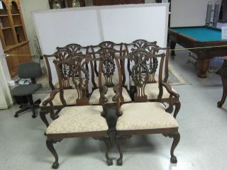 (8) Antique Hand Carved Ball & Claw Mahogany Chairs 2 Arm Chairs photo