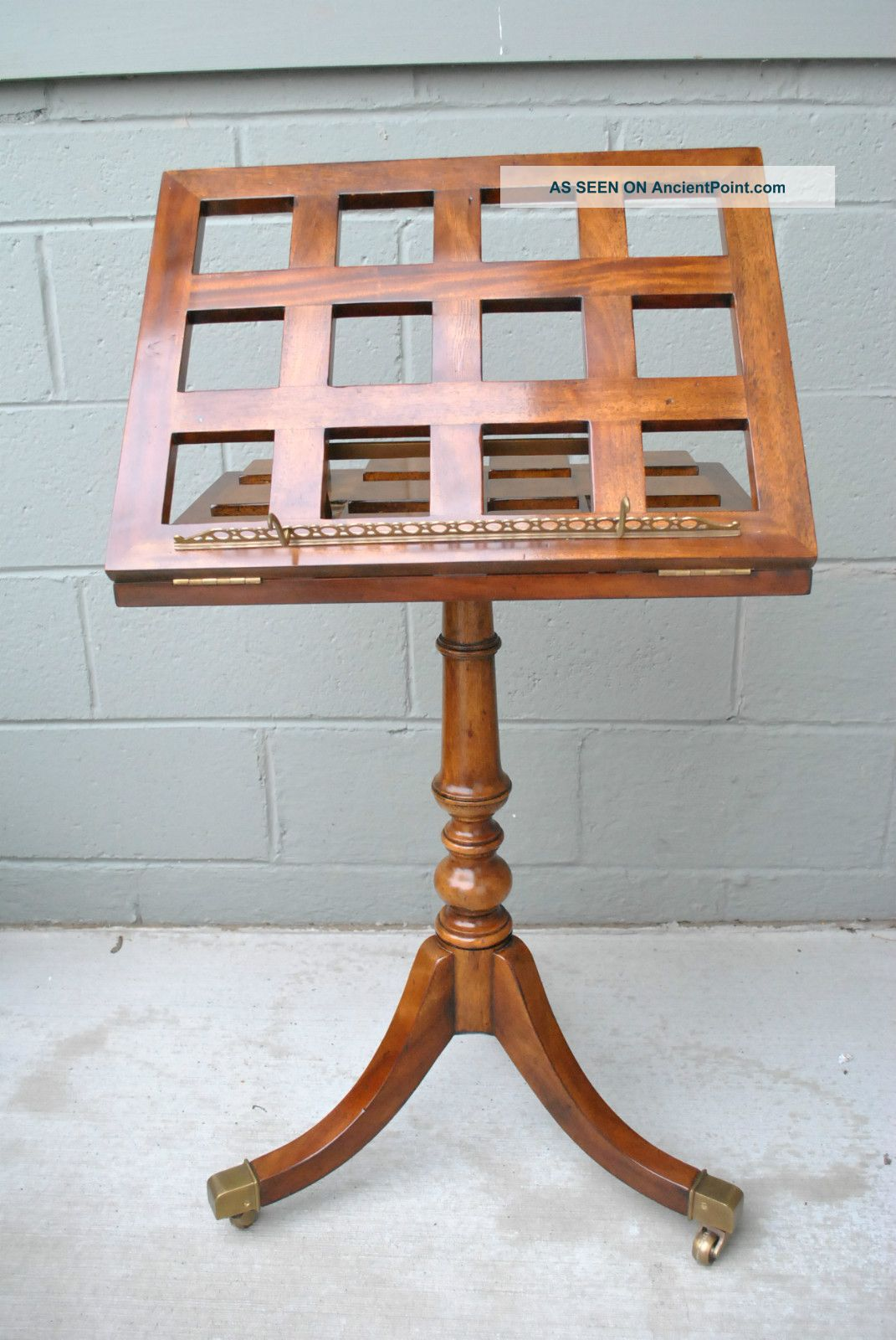 Theodore Alexander Music/ Dictionary Stand With Burled Wood Details And Brass Post-1950 photo