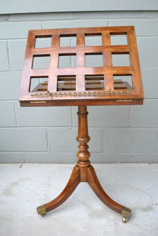 Theodore Alexander Music/ Dictionary Stand With Burled Wood Details And Brass photo