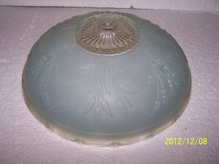 Vintage Blue Cattail Glass 3 Chain Mount Ceiling Light Shade photo