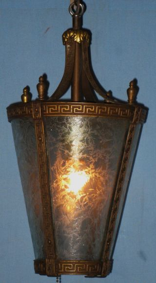 Antique Electric Tapering Hanging Lantern Ceiling Fixture Chicago 1900 Greek Key photo