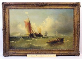 18thc Antique English Channel Marine Ship Oil Painting White Cliffs Of Dover Nr photo