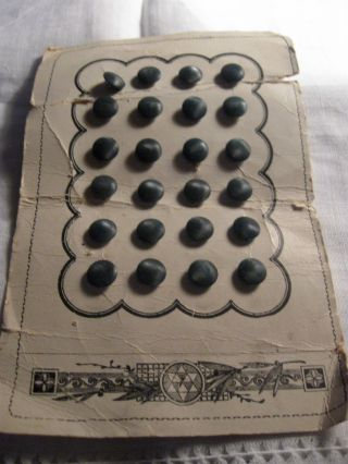 Antique Dark Green Glass Tinies Buttons Aesthetic Period 1860 - 90 Card photo