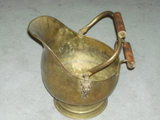 Antique Lion Head Ornate Brass And Wood Handle Large Coal Bucket photo