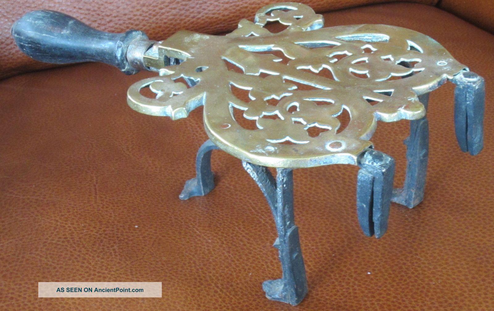 Antique Brass Wrought Iron Trivet 1800s Heart Shape Hearth Trivets photo