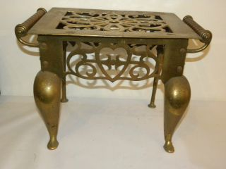 Magnificent Large Antique 19th Century Bronze Reticulated Trivet photo