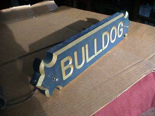 Maritime Sign Ornate Carved Wood Made In Usa (bulldog) Ol