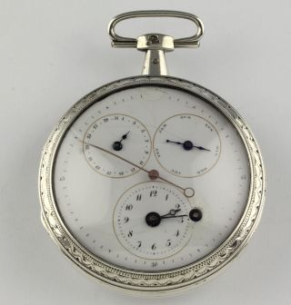 Verge Fusee Pocket Watch Calendar Center Seconds Spindeltaschenuhr Montre Silver photo