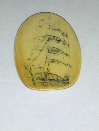 Scrimshaw Pendant Ship photo