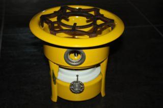 Antique Dutch Enamel Kerosene Stove Cooker Yellow Rare Auth photo