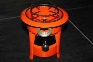 Antique Dutch Enamel Kerosene Stove Cooker Orange Rare photo