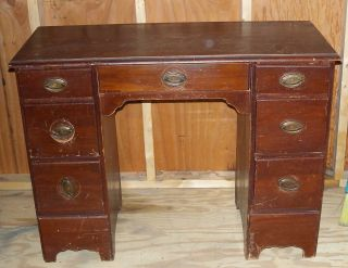 1930 ' S Mahogany Desk With Hardware Handles photo