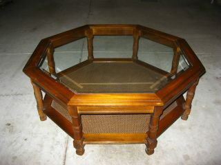 Vintage Danish Modern Octagon Glass Coffee Table Cane Mid Century Modern photo