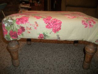 Vintage Shabby Roses Antique Foot Bench Covered Foot Stool photo