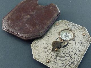 Early C20th Pocket Sundial Compass photo