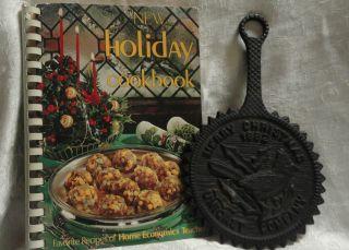 Holiday Cookbook Home Ec Teachers 1974 Merry Christmas Cast Iron Trivet 1982 photo