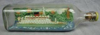 Folk Art Ship In A Bottle Caronia - Cunard White Star Cruise Ship photo