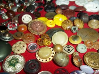 Estate Huge 280 Plus Buttons Lots Vintage Rhinestone New Glass Antique Czech photo