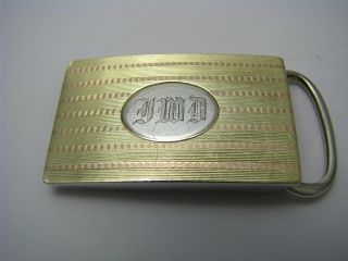 A Sterling Silver Belt Buckle 925 Silver Gold Ornaments Ca1920s Excellent Condn photo