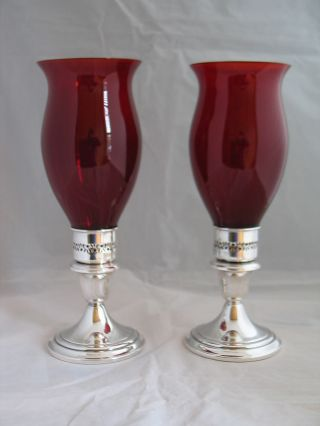 Pair Harmony House Gorham Silver Plate Candlestick Ruby Glass Hurricane Shade 2 photo