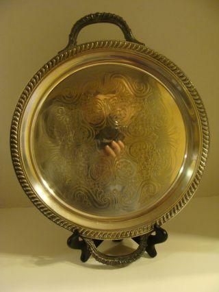Fb Rogers 1883 Silver Round Platter Tray W/handles 15.  75