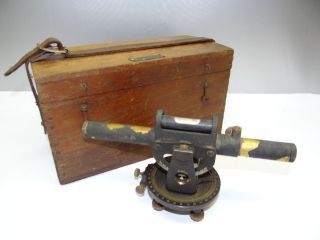 Antique Metal Brass Cl Berger & Sons Engineering Surveying Tool Transit W/ Case photo