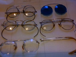 Lot 4 Vintage Antique 14k Solid Gold Eyeglasses Bausch & Lomb Shuron 12kgf Ao photo