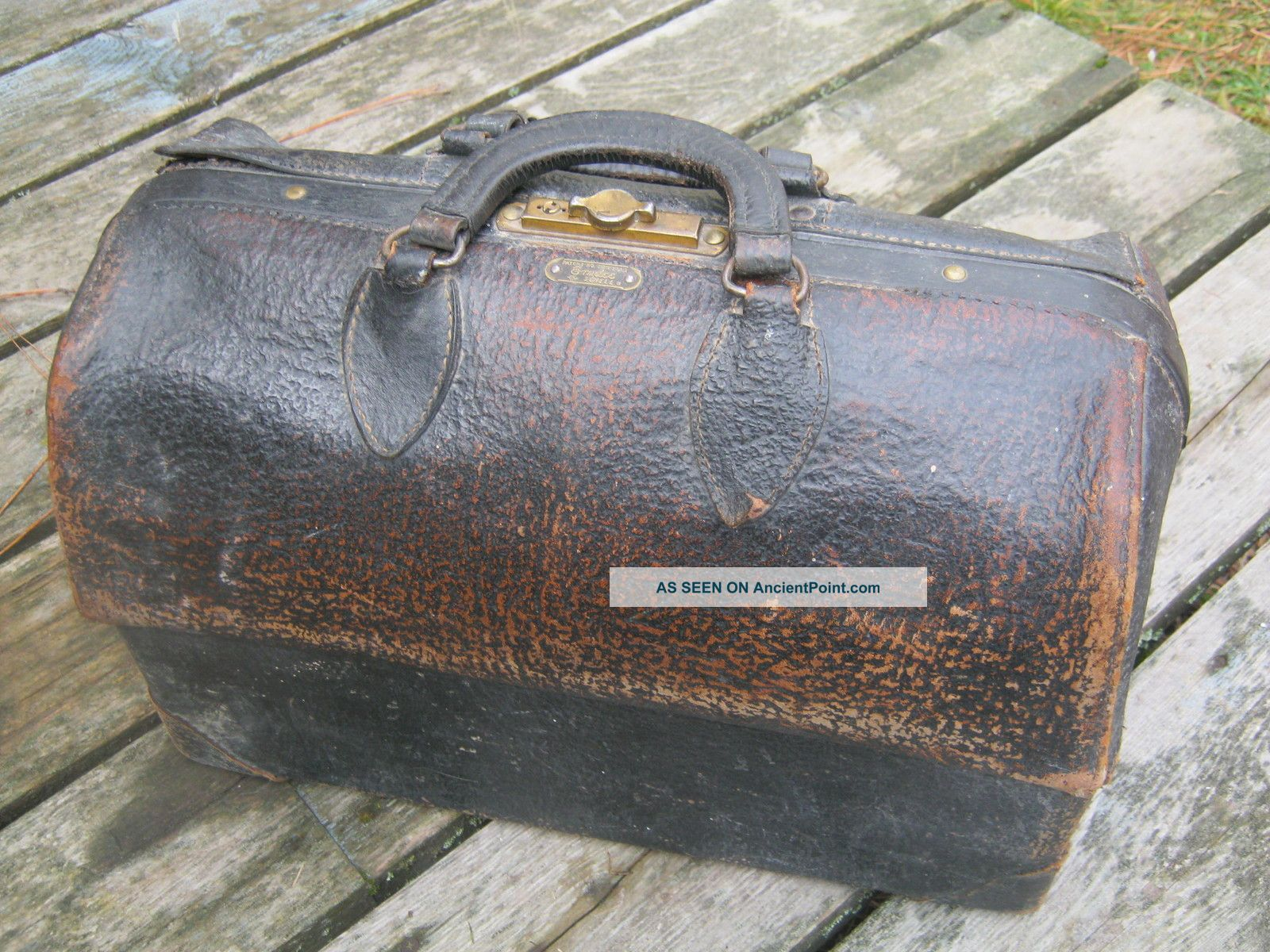 Vintage Black Cow Hide Leather Doctor ' S House Call Bag Emdee By Schell Doctor Bags photo