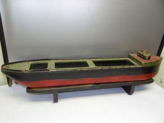 Antique Old Wood Wooden Folk Art Red Black Green Decorative Model Ship Boat Nr photo
