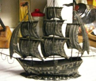 Tin Metal Clipper Ship Nautical Old Sail Boat Welded Art Statue photo