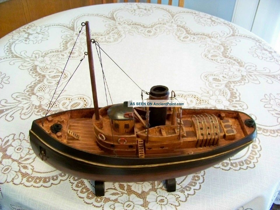 Large Vintage Model Tug Boat,  Wood & Metal Construction,  Detailed,  Rustic Model Ships photo