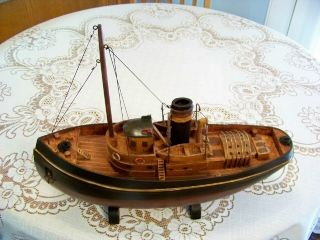 Large Vintage Model Tug Boat,  Wood & Metal Construction,  Detailed,  Rustic photo