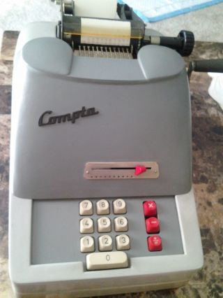 Rare Vintage 1960s Compta Adding Machine For Cash Register Made In Norway photo