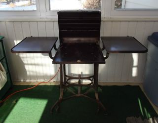 Vintage Industrial Uhl Toledo Typewriter Table Stand Cabinet Cart Or Liquor Bar photo