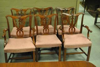 Chippendale Style Mahogany Dining Room Chairs,  Set Of 6,  By Mahogany photo
