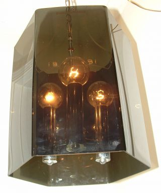 Vtg.  Large 1960s Retro Lucite Chrome Eames Era Lantern Chandelier Light Fixture photo
