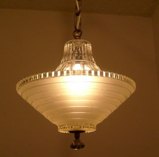 Vtg.  Unique 1930s Deco Era Crystal Glass Chandelier Light Fixture Powder Room photo