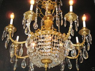 French Bronze & Crystal 10 Ligt Chandelier Made In Europe In The 1940s photo