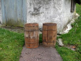 Vintage Primitive Wooden Whiskey Nail Keg Barrel Wine Beer Barrels photo