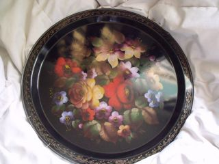 Stunning Russian Hand Painted And Signed Russian Tray 45 Cms Diameter photo