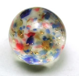 Antique Paperweight Glass Button Colorful W/ Gold Sparkle Design Swirl Back photo