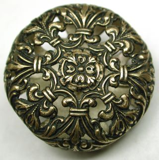 Antique Pierced Brass Button Lovely Baroque Floral Cage Design photo