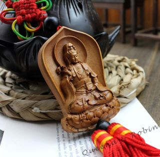 Chinese Jujube Wood Carved Buddha Guan Kwan Yin Statue Sculpture Amulet W53 photo