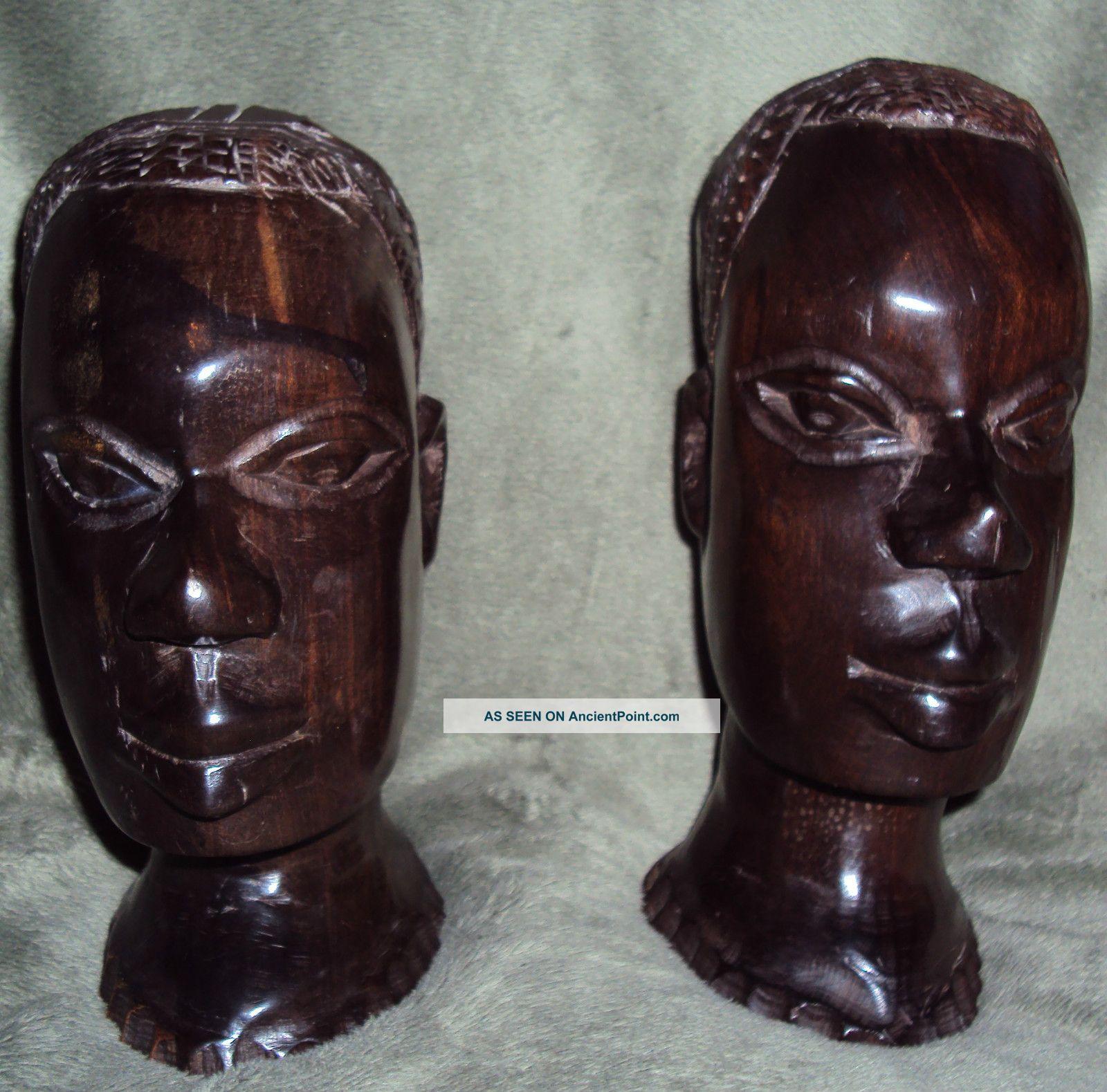 1970 Antique West African Art Cotonou Dahomey Pair Of Ebony Head Statues Sculptures & Statues photo