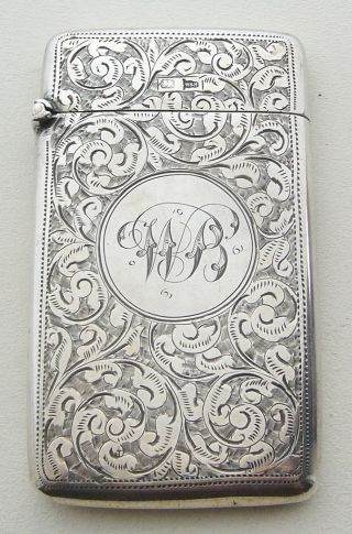 Antique Walker & Hall Silver Card Case 1901 photo
