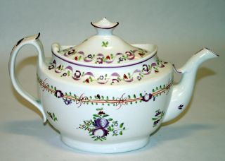 Antique English Pottery Porcelain Creamware Staffordshire Pearlware Teapot 1820 photo