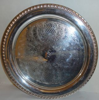 Vintage Leonard Silverplate Round Serving Tray Platter 12